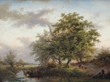 Пейзаж с рыбацкой лодкой на пруду - Круземан, Фредерик Маринус
