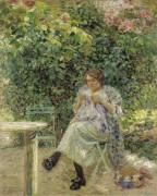 Женщина с шитьем в саду, 1913 - Валле, Людовик