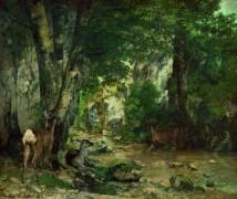 Пейзаж с оленями у ручья - Курбе, Гюстав