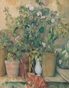 Терракотовые вазоны и цветы - Сезанн, Поль