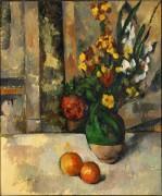 Ваза с цветами и яблоки - Сезанн, Поль