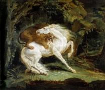 Нападение льва на лошадь - Жерико, Теодор Жан Луи Андре