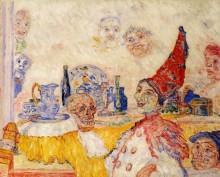 Пьеро и желтый скелет, 1925-1930 - Энсор, Джеймс