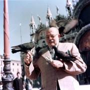 Эрнест Хемингуэй кормит голубей в Венеции, 1954 год.