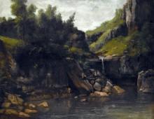 Горный пейзаж с водопадом - Курбе, Гюстав