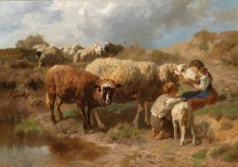 Дети с овцами на водопое - Брайт, Антон