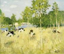 Коровы на лугу - Монтезен, Пьер-Эжен