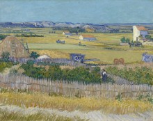 Сбор урожая в Ла Кро с Монтмажор на заднем плане (Harvest Landscape with Blue Cart), 1888 - Гог, Винсент ван