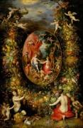 Фруктовая гирлянда с изображением Кибелы, получающей дары - Брейгель, Ян (Старший)