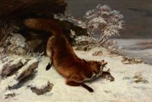 Лиса с добычей на снегу - Курбе, Гюстав