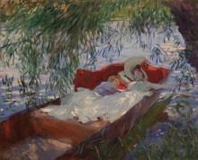 Женщина с ребенком, спящие в лодке под ивами - Сарджент, Джон Сингер