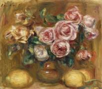 Натюрморт с розами и лимонами - Ренуар, Пьер Огюст