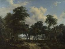 Лесной пейзаж с коттеджем - Хоббема, Мейндерт