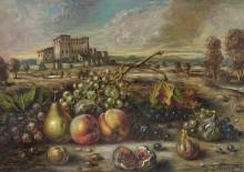 Пейзаж с фруктами на фоне замка - Кирико, Джорджо де