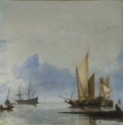 Голландские яхты и другие суда во время штиля у берега - Дюббельс, Хендрик Якобс