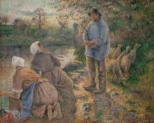 Пастух и прачки - Писсарро, Камиль