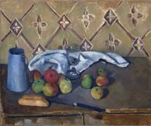 Кувшин молока, полотенце и фрукты - Сезанн, Поль