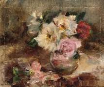 Цветочный натюрморт с розами в стеклянной вазе - Ритсема, Коба