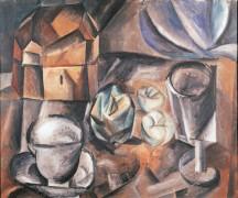 Натюрморт со шкатулкой, кубком, фужером и яблоками - Пикассо, Пабло
