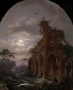 Ночной пейзаж с размышляющим монахом среди руин - Круземан, Фредерик Маринус