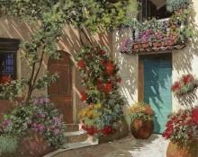 Цветы во внутреннем дворике - Борелли, Гвидо (20 век)