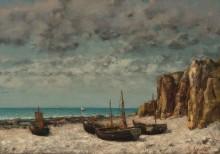 Лодки на берегу моря, Этрета - Курбе, Гюстав