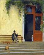 Отец художника у входа в дом - Жером, Жан-Леон