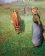 Пастушка с коровой - Писсарро, Камиль