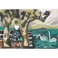 Пейзаж с женщиной и двумя лебедями - Дикс, Отто
