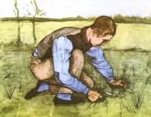 Мальчик косит траву серпом (Boy Cutting Grass with a Sickle), 1981 - Гог, Винсент ван