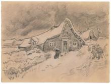 Снежный пейзаж с избушками, крестьянские избы, вид с поля (Snow Landscape with Cottages, Peasant Cottages seen from the Field) - Гог, Винсент ван