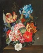 Натюрморт с розами, тюльпанами, лилиями и незабудками - Шустер, Йозеф