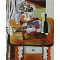 Натюрморт с гитарой, бутылкой и вазой с цветами - Пикассо, Пабло