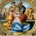 Святое Семейство с маленьким Иоанном Крестителем (Тондо Одди) - Микеланджело Буонарроти