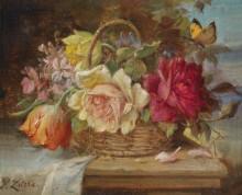 Корзина с цветами и бабочка - Зацка, Ханс