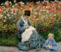Камилла Моне с ребенком в саду художника в Аржантее - Моне, Клод