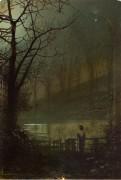 Женщина, стоящая у озера лунной ночью - Гримшоу, Джон Аткинсон
