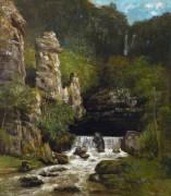Пейзаж с водопадом - Курбе, Гюстав