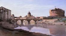 Римский пейзаж - мост и замок Сан-Анджело - Коро, Жан-Батист Камиль