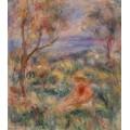 Сидящая женщина на фоне пейзажа - Ренуар, Пьер Огюст