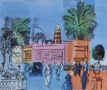 Казино в Ницце с пальмами на берегу моря - Дюфи, Рауль