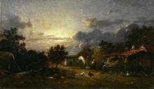 Пейзаж с деревней на закате - Дюпре, Жюль