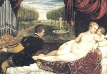 Венера с органистом и купидоном, 1555 - Тициан, Вечеллио