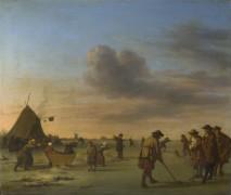 Игроки на льду возле Гарлема - Вельде, Адриан ван де