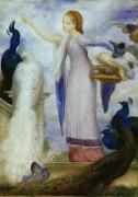 Девушка, кормящая павлинов - Лейтон, Фредерик