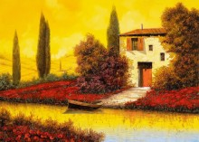 Пейзаж с маками вдоль реки - Борелли, Гвидо (20 век)