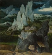Святой Иероним на фоне скалистого пейзажа