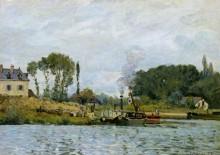 Лодки у шлюза в Буживале - Сислей, Альфред