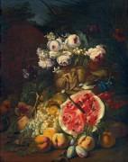 Арбуз, персики, сливы и виноград с розами на фоне пейзажа - Брейгель, Абрахам