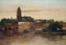 Вид на Франкфурт-на-Майне со Старым мостом из Саксенхаузена - Курбе, Гюстав